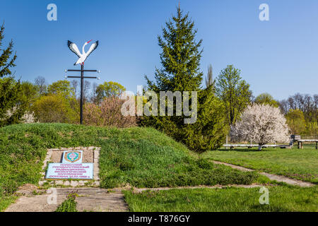 Chojniki, Belarus, - April 26, 2019: Chernobyl accident memorial in the Belarus exclusion zone contaminated with radioactive fallout in 1986. - Stock Photo