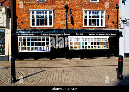 Oldest Chemist Shop in England, Market Square, Knaresborough, England - Stock Photo