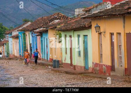 Cuba, Sancti Spiritus Province, Trinidad de Cuba listed as World Heritage by UNESCO, street with colorful facades - Stock Photo