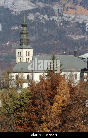 Eglise Saint-Gervais et Saint-Protais. Saint-Gervais-les-Bains. / Church of St. Gervais and St. Protais. Saint-Gervais-les-Bains. - Stock Photo