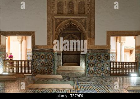 Morocco, High Atlas, Marrakech, Imperial city, medina listed as World Heritage by UNESCO, Kasbah district, The Saadian Tombs, dating back to the 16th century, are the final resting place of about sixty members of the Saadi Dynasty that originated in the valley of the Draa River - Stock Photo