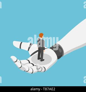 Flat 3d isometric businessman standing in ai robot hand. artificial intelligence and machine learning concept. - Stock Photo