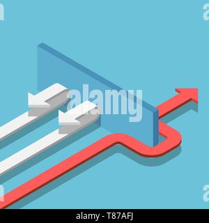 Flat 3d isometric red arrow find the way through the wall to success. Business solution concept. - Stock Photo