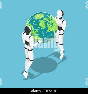 Flat 3d isometric Ai robot holding earth planet in hands. Artificial intelligence technology concept. - Stock Photo