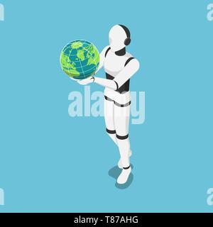 Flat 3d isometric Ai robot holding the world or earth globe. Artificial technology change the world concept. - Stock Photo