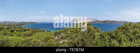 Italy, Sardinia, Olbia Tempio Province, San Teodoro, Coda Cavallo, Molara and Tavolara islands - Stock Photo