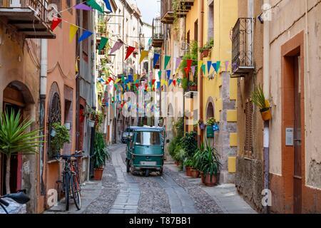 Italy, Sardinia, Oristano Province, Bosa, a narrow street - Stock Photo