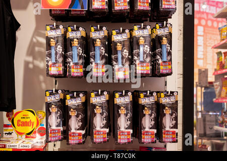 ELVIS PRESLEY Pez dispensers for sale at It'sugar, a candy by the pound chain store. In Greenwich Village, New York City. - Stock Photo