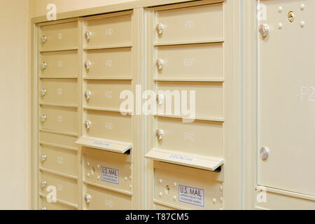 Residential Mailboxes in Apartment Building - Stock Photo