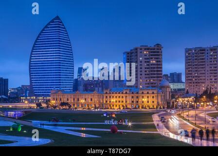 Azerbaijan, Baku, Trump Hotel and Tower, dusk - Stock Photo