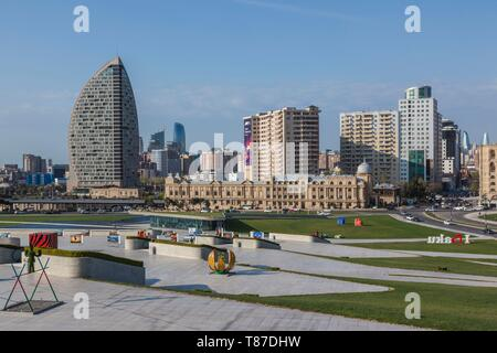 Azerbaijan, Baku, Trump Hotel and Tower by the Heydar Aliyev Center - Stock Photo