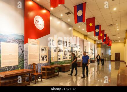 Laos, Vientiane, Kaysone Phomivan Museum, building interior - Stock Photo