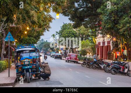 Laos, Luang Prabang, tuk-tuk, motorcycle taxi Stock Photo