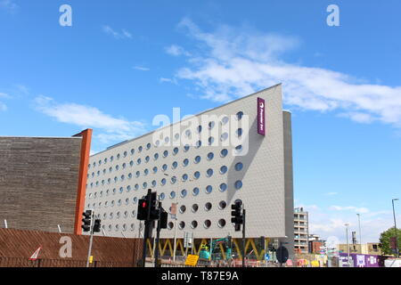 10 May 2019: Cardiff Bay, Cardiff UK:  A newly built Premier Inn opening soon in Cardiff Bay.  Construction work ongoing. - Stock Photo