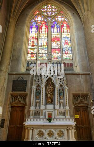 France, Moselle, Metz, 12th century Saint Martin church, stained glass windows made by master Laurent Charles Marechal, head of Metz school stained glass windows in 1881 - Stock Photo
