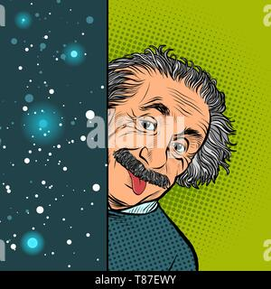 Moscow, Russia - April 11, 2019. Albert Einstein, scientist, physicist, hand-drawn portrait. Science and education. The author of the theory of relati - Stock Photo
