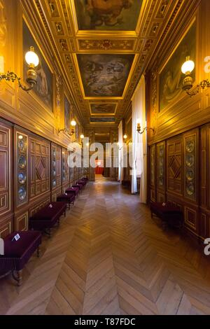 France, Seine et Marne, Fontainebleau, Fontainebleau royal castle listed as UNESCO World Heritage, the Galerie des Assiettes (Gallery of the Plates) - Stock Photo