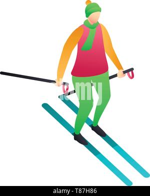 Colorful clothes man skiing icon. Isometric of colorful clothes man skiing vector icon for web design isolated on white background - Stock Photo