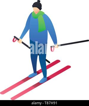 Boy skiing icon. Isometric of boy skiing vector icon for web design isolated on white background - Stock Photo