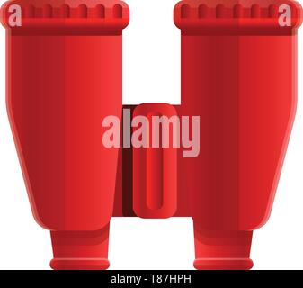 Red binoculars icon. Cartoon of red binoculars vector icon for web design isolated on white background - Stock Photo