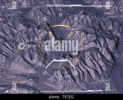 Satellite view of land, war operations, sci-fi, night vision with blue hues. Military target. Drone flying over an area. Military operation - Stock Photo
