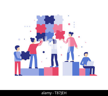 Vector illustration in simple flat style - teamwork and development concept - people holding  puzzle pieces - banner and infographics design template - Stock Photo
