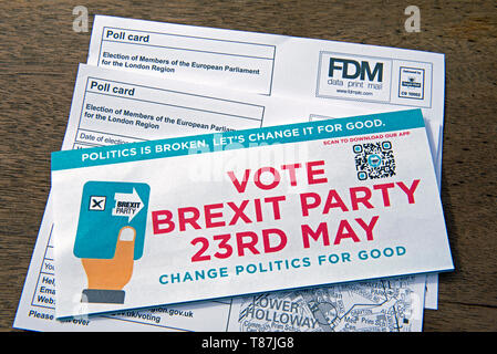 EU Election Brexit Party Leaflet and poll cards for the London Region of the European Parliament 2019. Islington North - Stock Photo