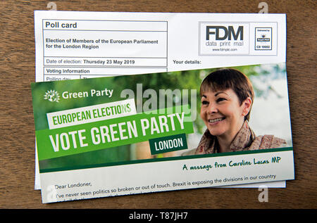 Green Party EU election leaflet and poll card for the European Parliament London Region.  Islington North - Stock Photo