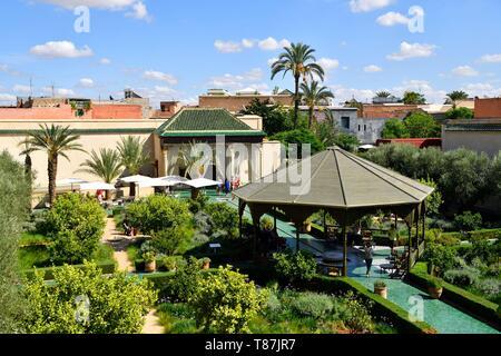 Morocco, High Atlas, Marrakesh, Imperial City, medina listed as World Heritage by UNESCO, Secret Garden (Le Jardin secret), rue Maouassine - Stock Photo