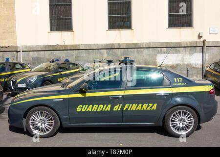 Catania, Italy - March 16, 2019: Italian Financial Guard car (Guardia di Finanza) in Catania, Sicily - Stock Photo