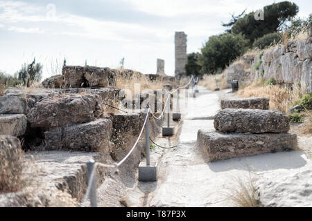 The Acropolis of Athens is an ancient citadel standing on a rocky outcrop above Athens, Greece. It is one of the most famous archeological sites in th - Stock Photo