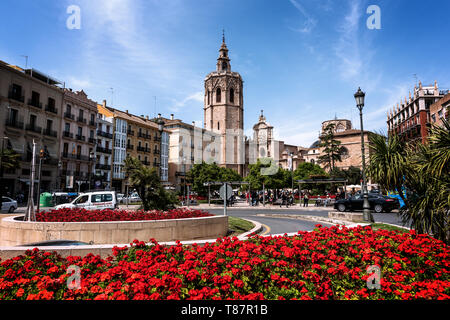 Valencia, Spain - May 07th 2019: A beautiful view of Torre del Micalet, also known as El Miguelete, the bell tower of Valencia Cathedral, in the histo - Stock Photo