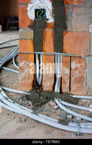 Electric wires / electrical cables / wiring on the floor to electrical outlets / power points / wall sockets in newly built house under construction - Stock Photo
