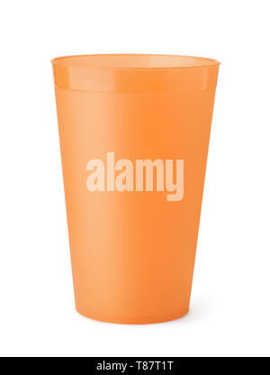 Front view of orange plastic cup isolated on white - Stock Photo