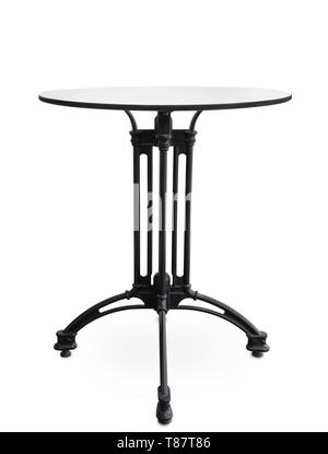 Front view of small cast iron coffee table isolated on white - Stock Photo