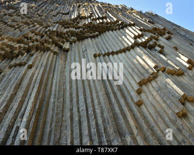 """Symphony of the Stones' geological rock formation basalt columns in the gorge near Garni, Armenia. - Stock Photo"