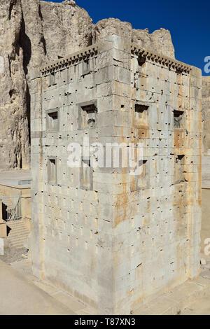 The ancient tower Ka'ba-ye Zartosht - Zoroastrian Fire Temple, ancient Naqsh-e Rustam necropolis in Pars, Iran. - Stock Photo