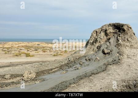 View of the mud volcanoes of Gobustan near Baku, Azerbaijan. - Stock Photo