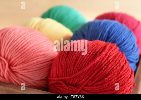 Balls of knitting yarn in box, closeup - Stock Photo