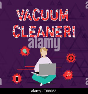Conceptual hand writing showing Vacuum Cleaner. Concept meaning machine that cleans floors and surfaces by sucking up dust Woman Sitting with Crossed  - Stock Photo