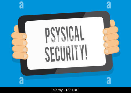 Word writing text Physical Security. Business photo showcasing designed to deny unauthorized access to facilities Color Tablet Smartphone with Blank S - Stock Photo