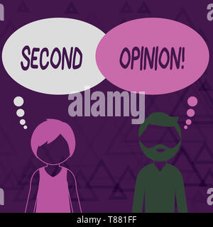 Writing note showing Second Opinion. Business concept for an opinion from a second qualified demonstrating on something Bearded Man and Woman with the - Stock Photo