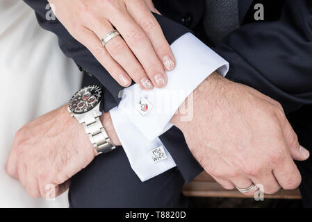 wedding couple hands woman man - Stock Photo