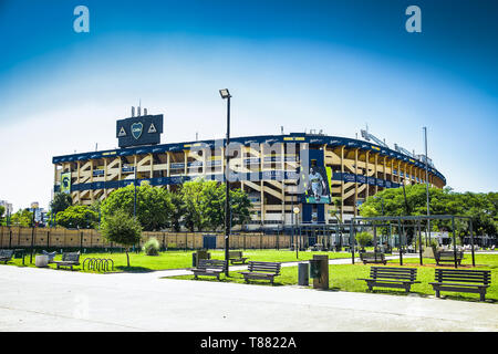 Buenos Aires Argentina - Dec 25, 2018: Outside architecture & colors of Boca Juniors team stadium also known as 'La Bombonera' hosts one of Argentina  - Stock Photo