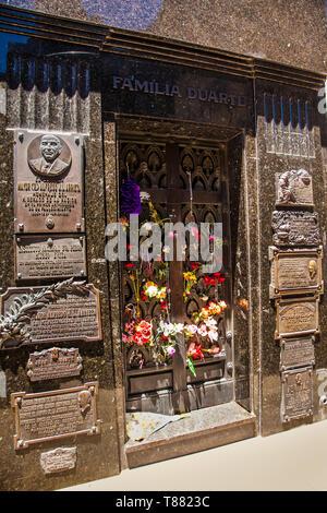 Buenos Aires, Argentina - Dec 25, 2018: Grave tombstone of Eva Peron in La Recoleta Cemetery in Buenos Aires, Argentina. - Stock Photo