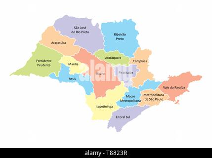 A colorful map of the Sao Paulo State regions, Brazil - Stock Photo