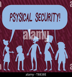 Text sign showing Physical Security. Business photo text designed to deny unauthorized access to facilities Silhouette Figure of People Talking and Sh - Stock Photo
