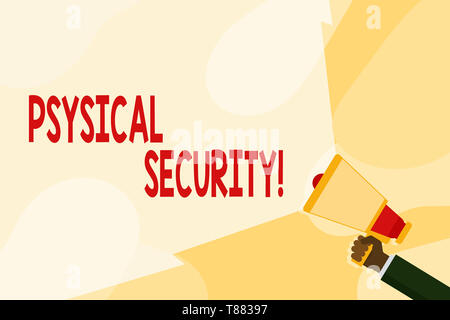 Text sign showing Physical Security. Business photo text designed to deny unauthorized access to facilities Hand Holding Megaphone with Blank Wide Bea - Stock Photo