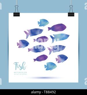 Watercolor sea blue and violet fish in vector - Stock Photo