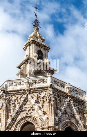 Spain Valencia Cathedral Miguel tower, medieval gothic architecture detail - Stock Photo